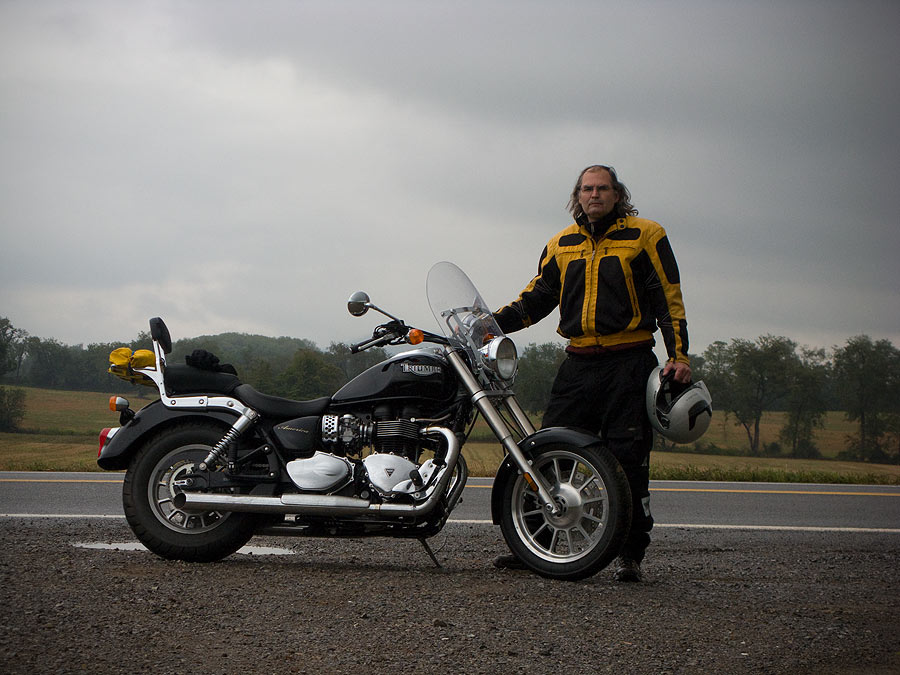 Steve Williams riding a Triumph America motorcycle