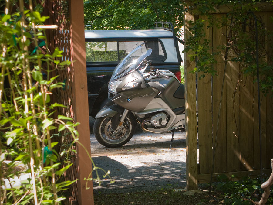 BMW R1200 RT motorcycle in my driveway