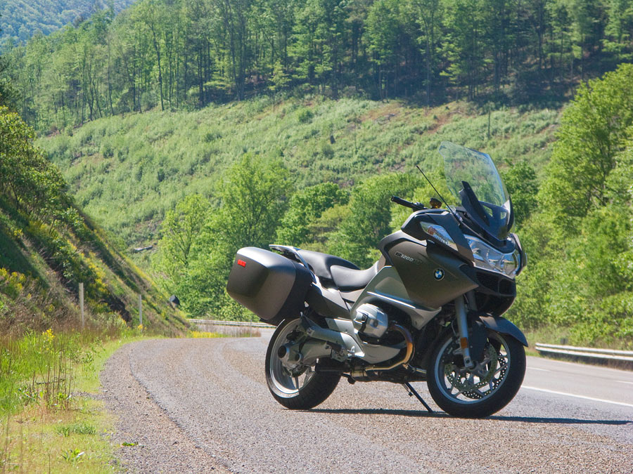 Side view of BMW R1200 RT motorcycle along US15