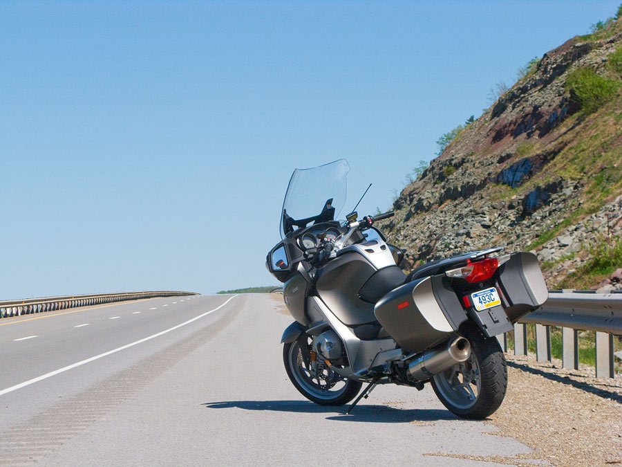 BMW R1200 RT motorcycle parked along a highway