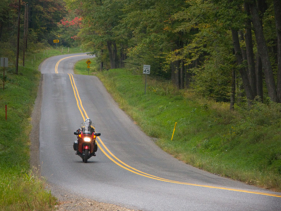 Kawasaki Concours motorcycle on rural road