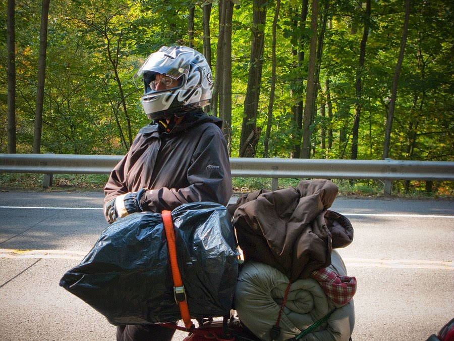 Paul Ruby with camping gear on motorcycle