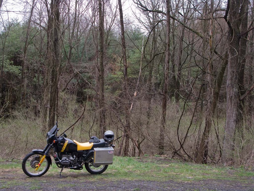 1988 BMW R100 GS motorcycle parked along a rural road