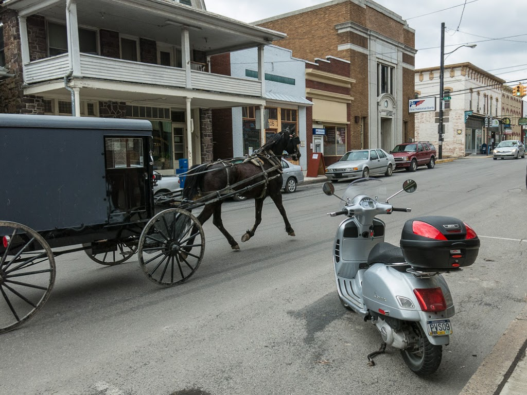 Amish horse and buggy with Vespa GTS scooter