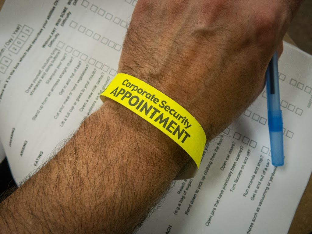 security wristband at a hospital
