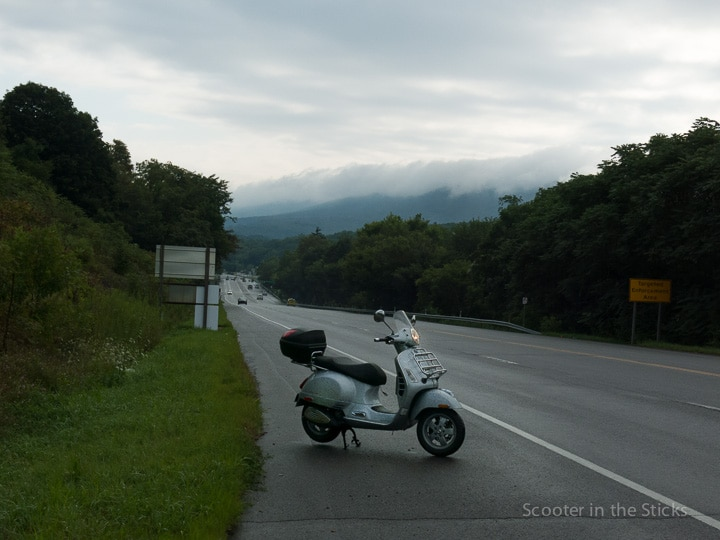 rain clearing during a morning Vespa ride