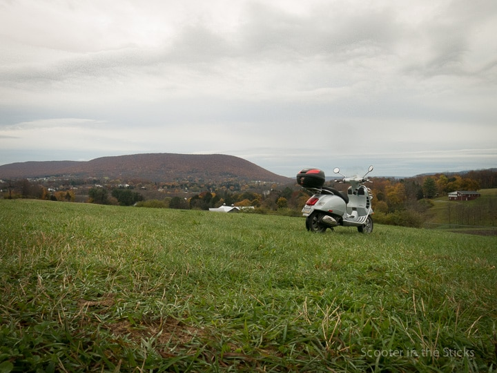 Vespa scooter and Mt. Nittany