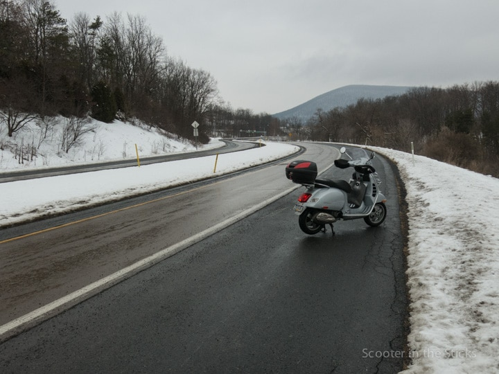 Vespa GTS scooter and Mt. Nittany