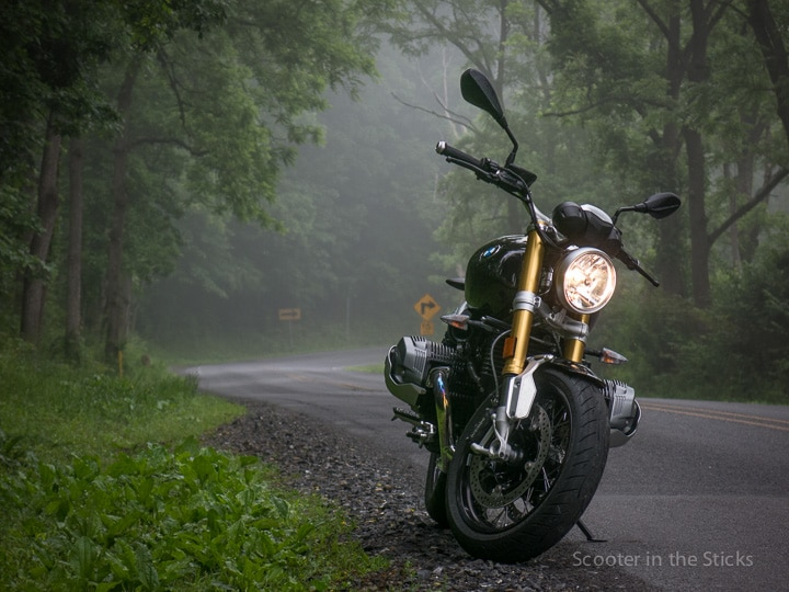 BMW R nineT on foggy road