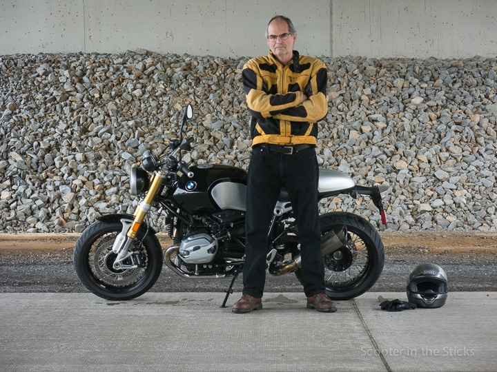 Steve Williams with BMW R nineT motorcycle