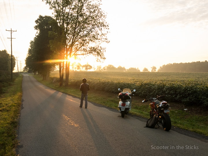 Sunrise on the road with Vespa and Ducati