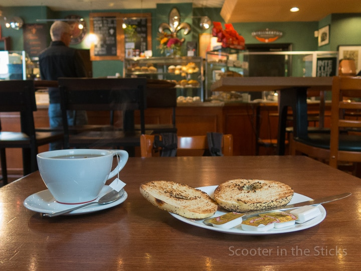 tea and bagel at Saint's Cafe in State College, Pennsylvania