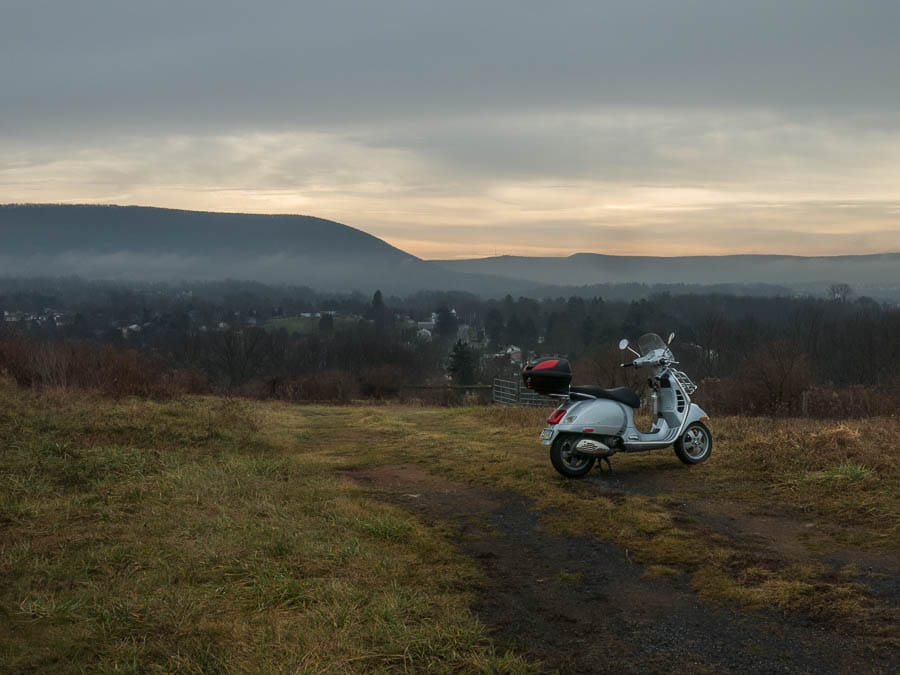 Vespa GTS scooter and Mount Nittany on Christmas morning