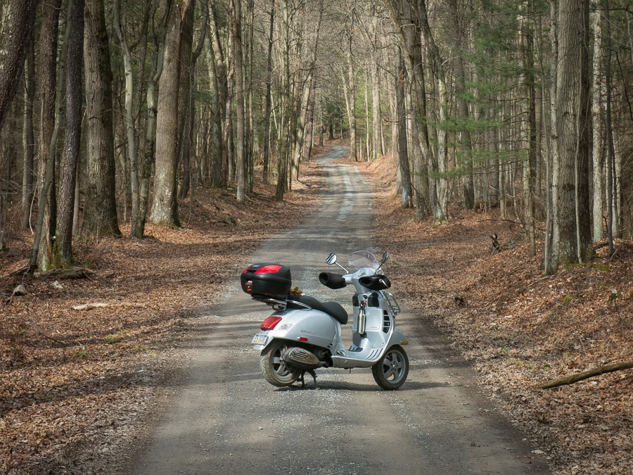 Vespa GTS scooter on an unimproved township road in a forest