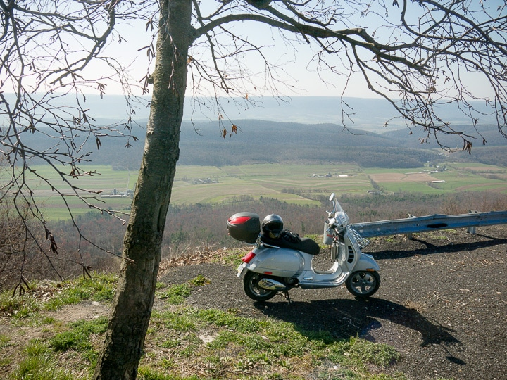 Vespa at scenic overlook in central Pennsylvania