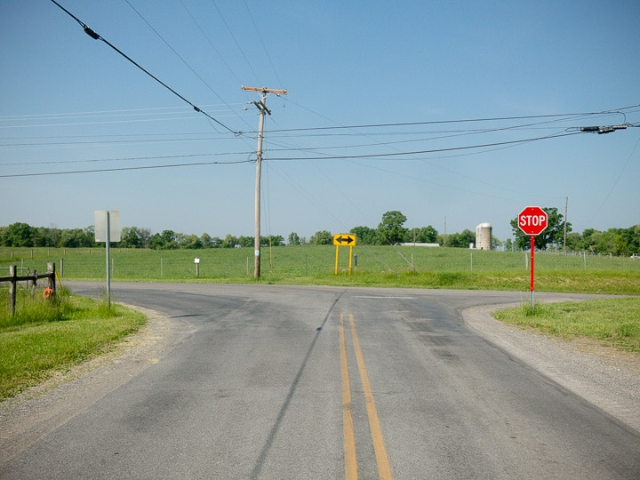 intersection of country roads