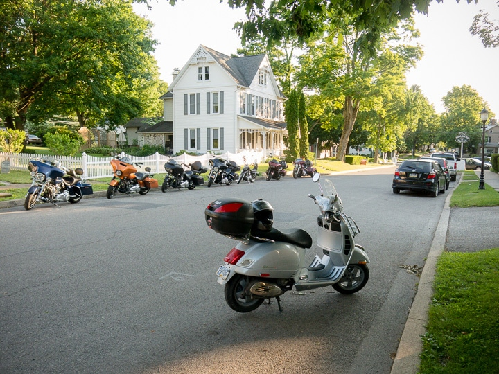 Vespa GTS encountering a line of Harleys in Boalsburg, Pennsylvania