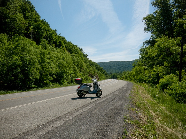 Vespa GTS scooter on the road to Shade Gap, Pennsylvania