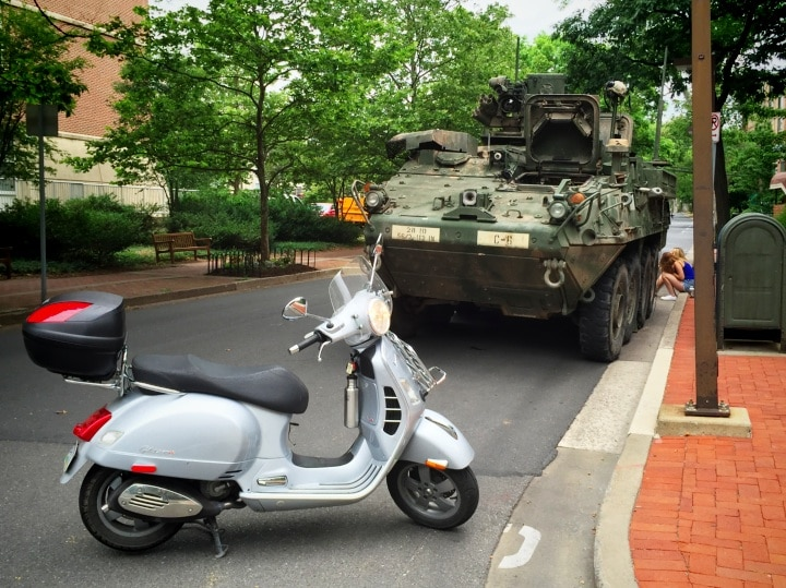 Vespa GTS scooter with armored personnel carrier