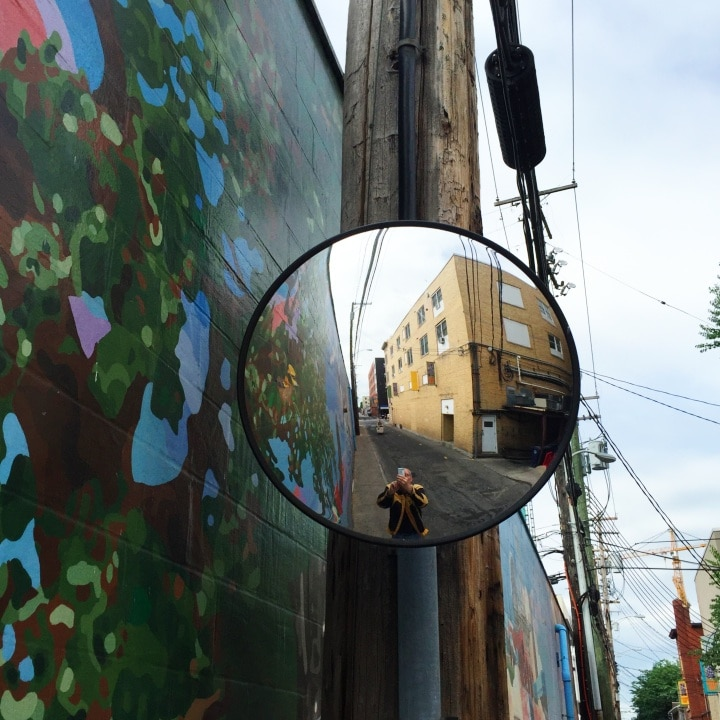 Steve Williams reflected in a traffic mirror on Calder Alley
