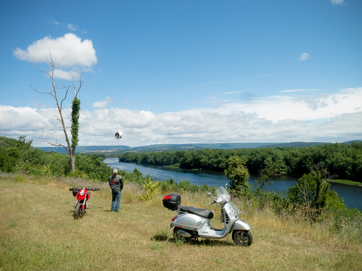 Ducati and Vespa along the Susquehanna River
