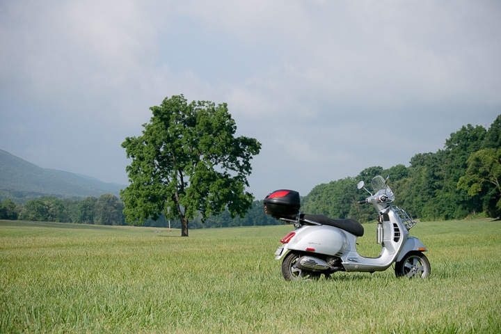 Vespa GTS scooter in a pasture