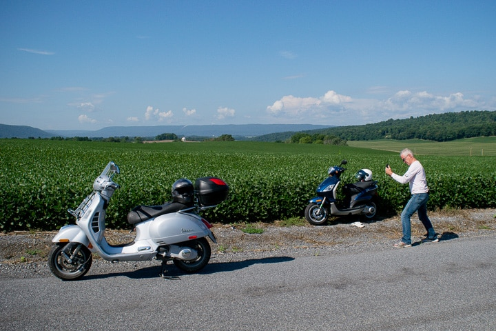 Scooters and soybean field