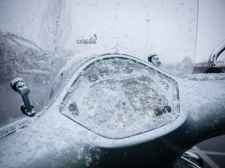 snow on a Vespa GTS scooter