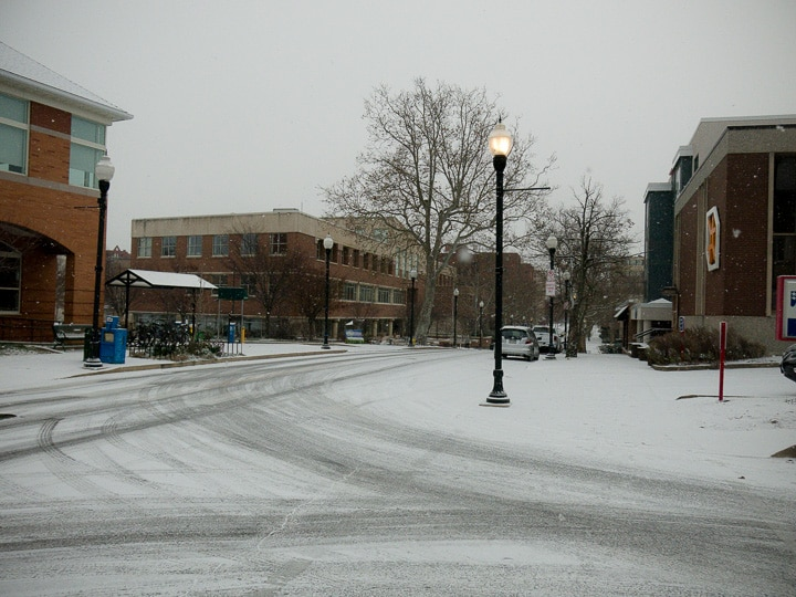 State College, Pennsylvania in the snow