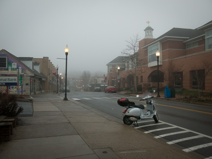Vespa GTS scooter in State College, PA on a foggy morning