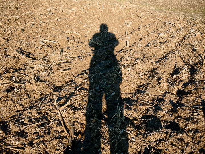 Man's shadow on a plowed farm field