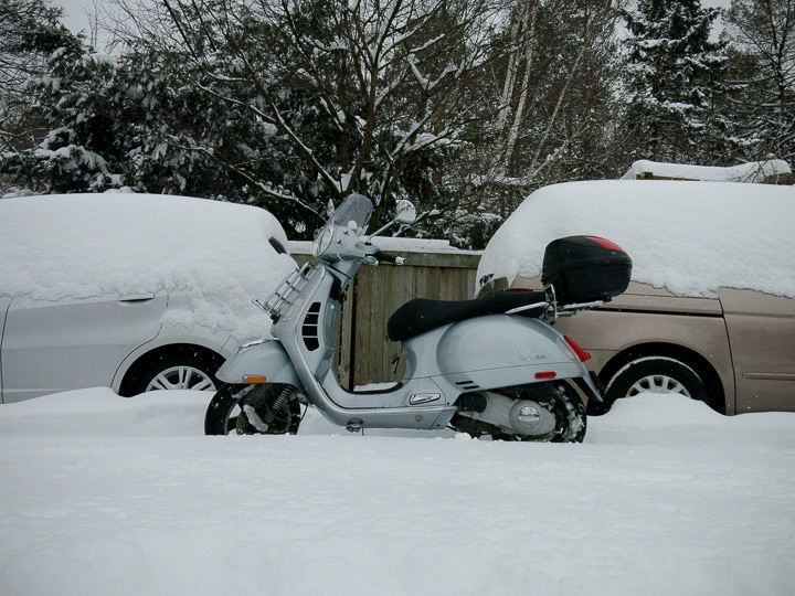 Vespa GTS scooter in snow