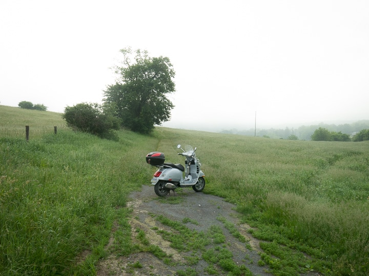 Vespa GTS scooter at a happy ending before work