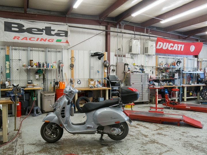 Vespa GTS scooter in service bay at Kissell Motorsports