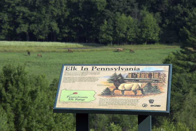 Elk in Pennsylvania sign