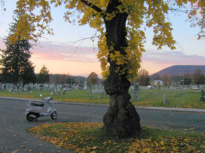 Vespa scooter at cemetery in Boalsburg, Pennsylvania