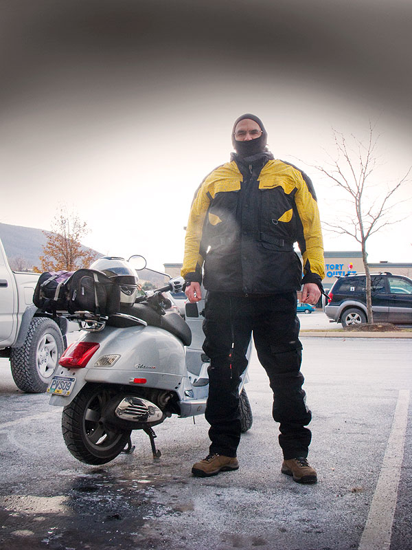 Steve Williams and his Vespa GTS scooter during a winter ride