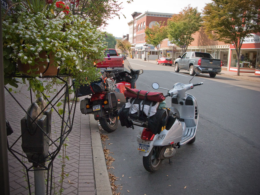 Vespa GTS scooter parked in Lock Haven, Pennsylvania