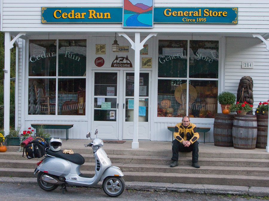Steve Williams sitting on steps of Cedar Run General Store