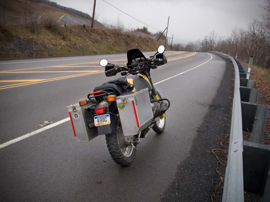 Side cases on a 1988 BMW R100 GS motorcycle