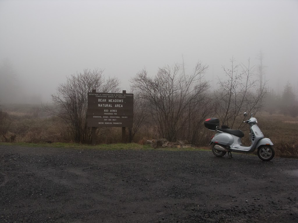 Vespa GTS scooter at Bear Meadows in fog