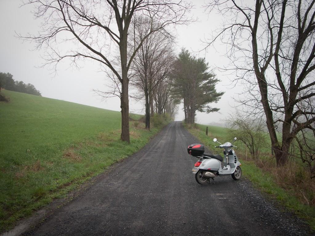 Vespa GTS scooter near Coyler Lake