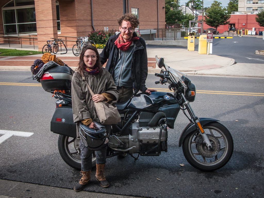 Young couple and their BMW K75 motorcycle
