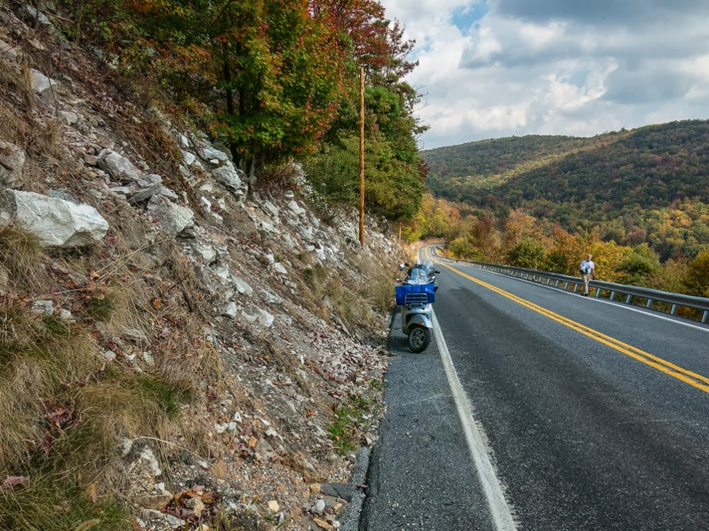 Vespa GTS scooter in the Appalachian Mountains