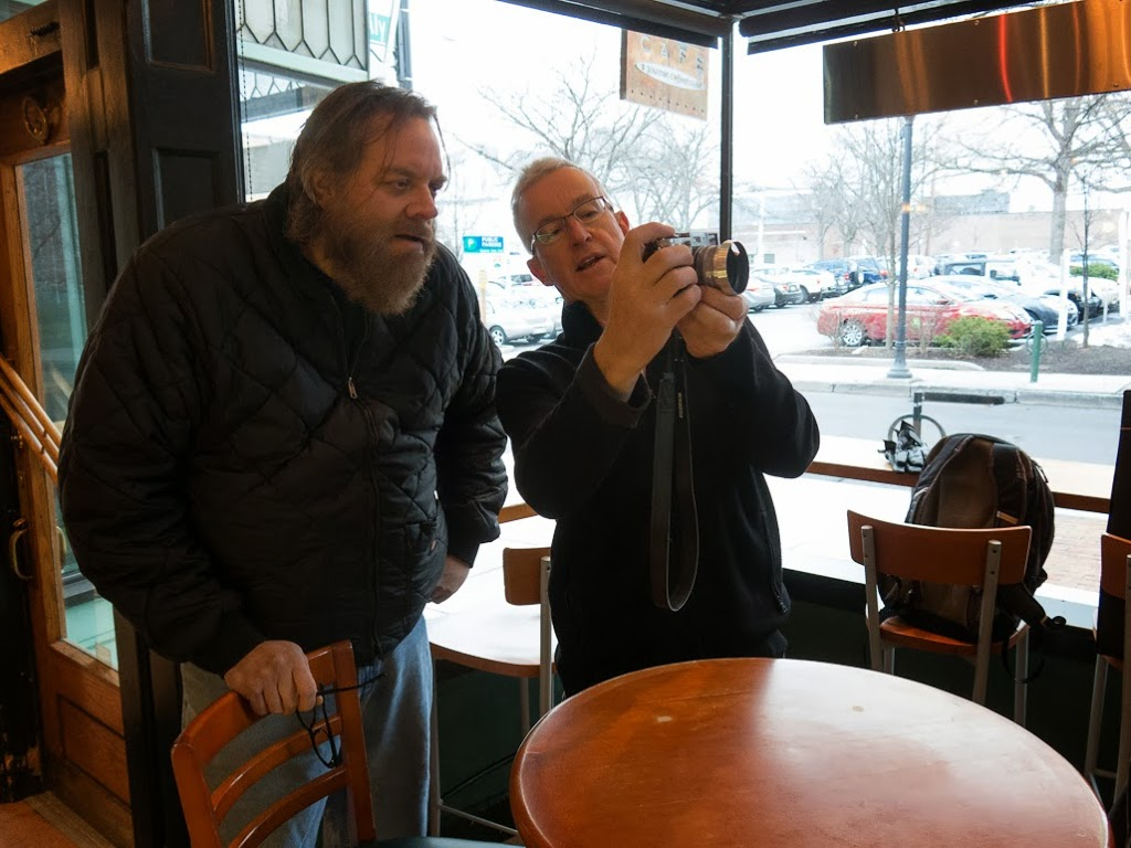 Gordon Harkins and Paul Ruby discussing cameras