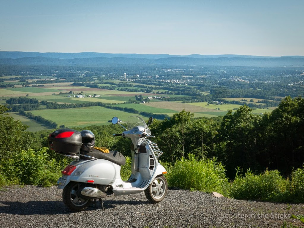 Vespa scooter at the Jo Hays Overlook of the Nittany Valley in central Pennsylvania