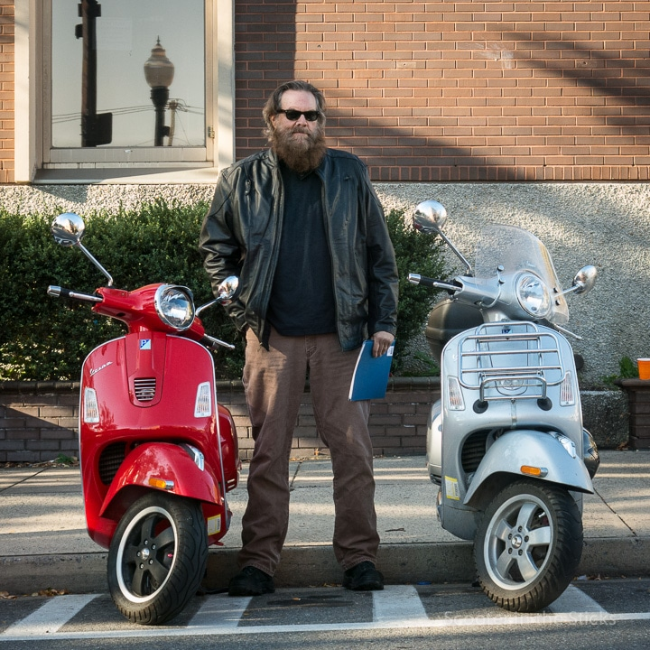 Gordon Harkins with his Vespa scooter