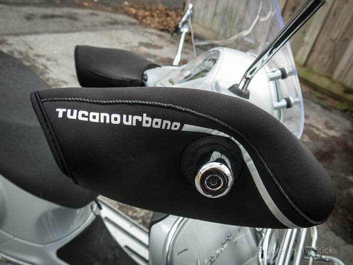 Tucano Urbano scooter mitts on Vespa GTS