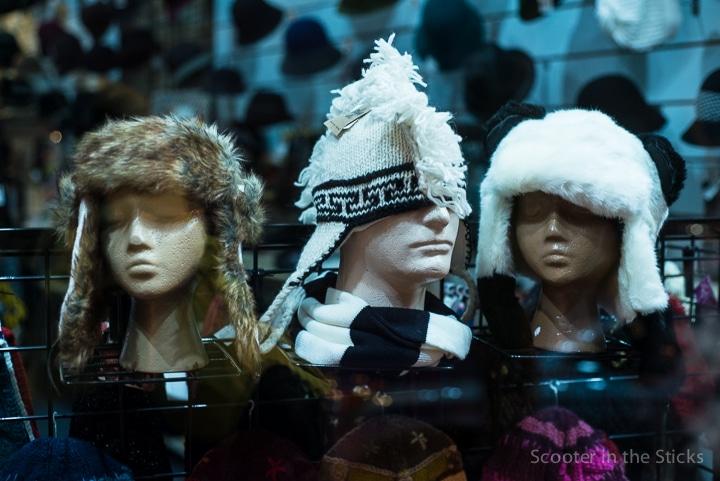 winter hats on manequins