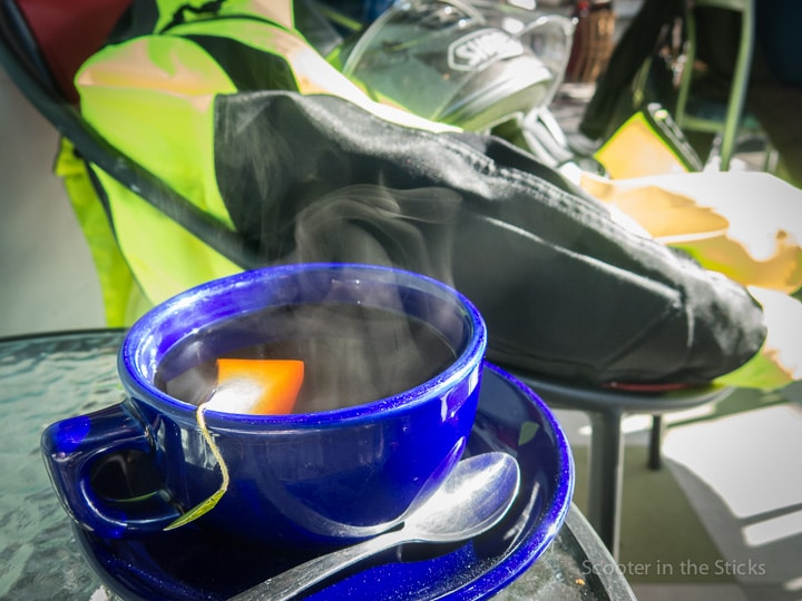 Steaming cup of Earl Grey tea at the Pump Station in Boalsburg, PA